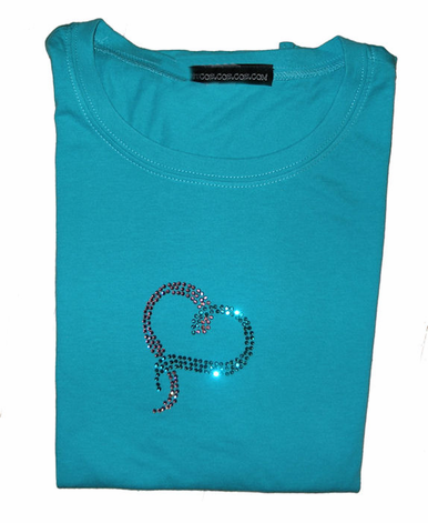 Pink and Teal Rhinestone Heart T-Shirt or Long Sleeve Shirt