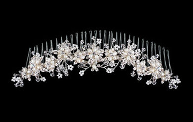 Bridal Headpiece with Crystals and Small Pearl Flowers A1793
