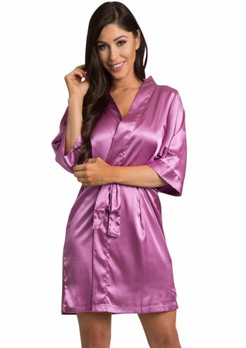 Orchid Satin Kimono Bridal Party Robe