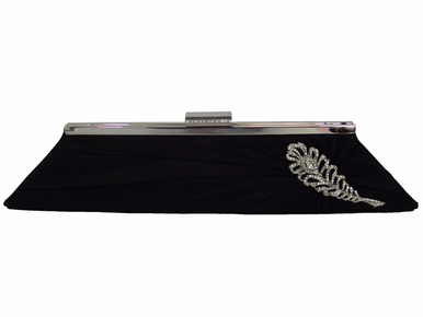 CLEARANCE: Black Evening Clutch with Rhinestone Brooch - Last One!