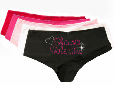 His Valentine Rhinestone Boyshort with Hearts