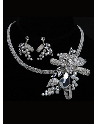 En Vogue Bridal Knotted Mesh Necklace & Earring Set NL1040