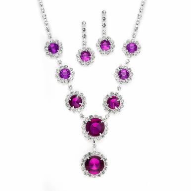 Lovely Graduated Rhinestone And Crystal Necklace Set  In Jet, Fuchsia Or Aurora Borealis