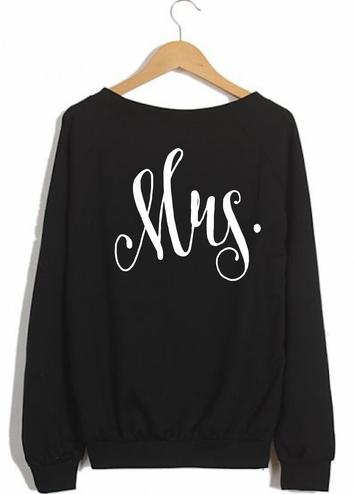 Script Mrs. Sweatshirt Crewneck Fleece Pullover