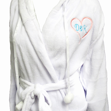Plush Hooded Robe with Embroidered Heart Design