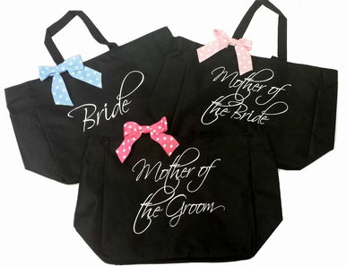 Custom Emboridered Bridal Party Tote Bags with Optional Bow