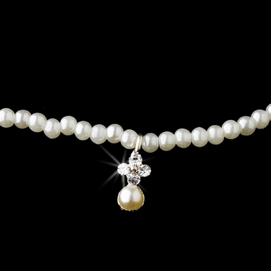 Elegant Crystal and Pearl First Communion Necklace