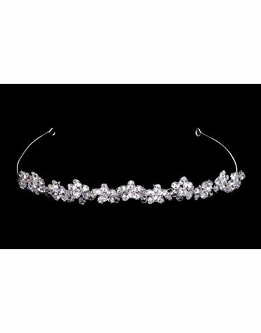White and Silver Tiara with Row of Flowers B9809