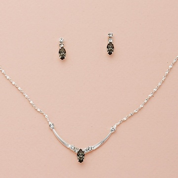Austrian Crystal Necklace & Earring Set with Custom Crystal Navettes