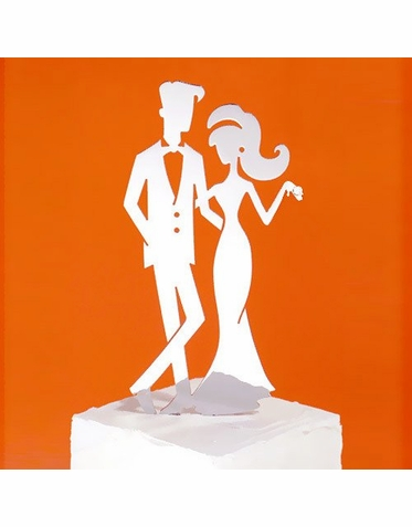 CLEARANCE: Hip Bride and Groom Cake Topper