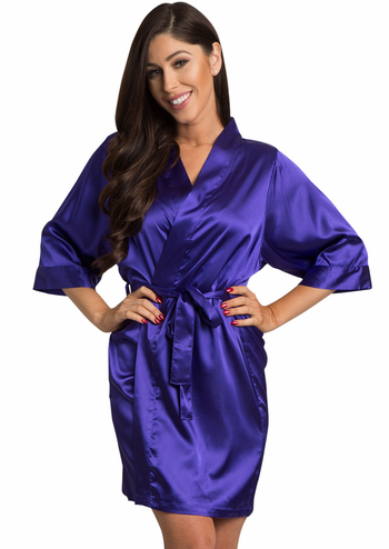 Regal Purple Satin Kimono Wedding Party Robe