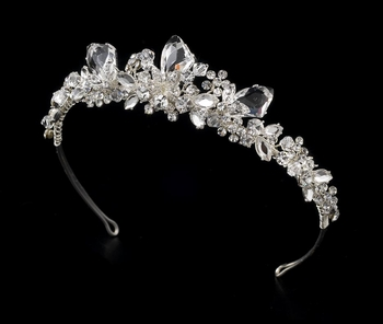 Silver Crystal Tiara - Bride Headpiece HP8237