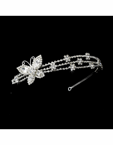 Silver and Clear Crystal Buttefly Headband