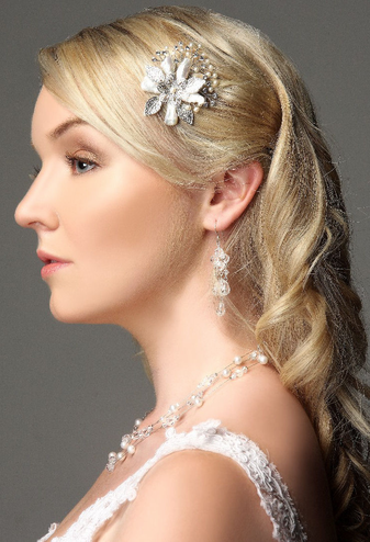 Floral Wedding Haircomb With Mother Of Pearl Accents ICB002