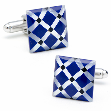 Opulent Mother Of Pearl  Diamond Pattern Cufflinks
