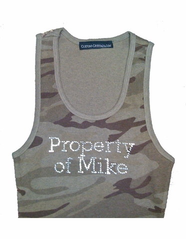 Custom Camouflage Tank Top with Choice of Rhinestone Colors