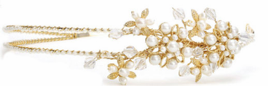 2 Row Freshwater Pearl Headband with Crystals in Ivory/Gold or Ivory/Silver