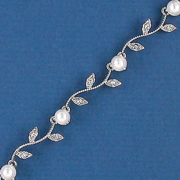 Silver or Gold Vine Bracelet with Pearls or Crystals