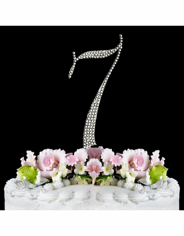 Crystal Covered 7th Birthday or Anniversary Cake Topper