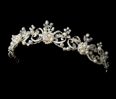 Victorian Freshwater Pearl and Crystal Bridal Headband