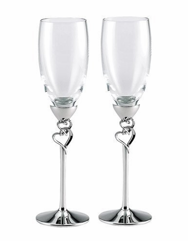 Nickle Plated Toasting Flutes with Double Hearts - Last Set!
