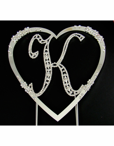 Vintage Elegance Crystal Cake Letter with Large Crystal Flower Heart