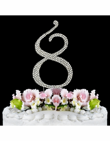 Crystal Covered Number 8 Birthday or Anniversary Cake Topper