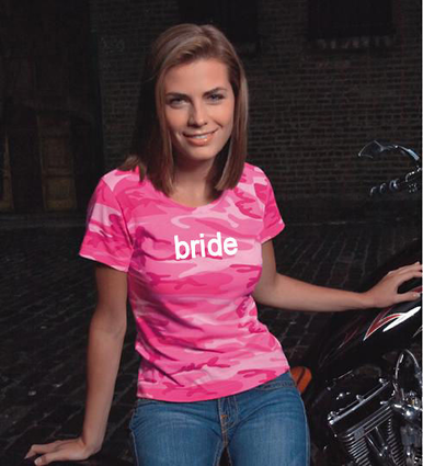 Pink Camouflage Bride T-Shirt or Personalize It!