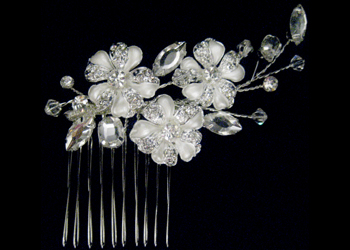 Three Flower Headpiece with Crystals-S2288