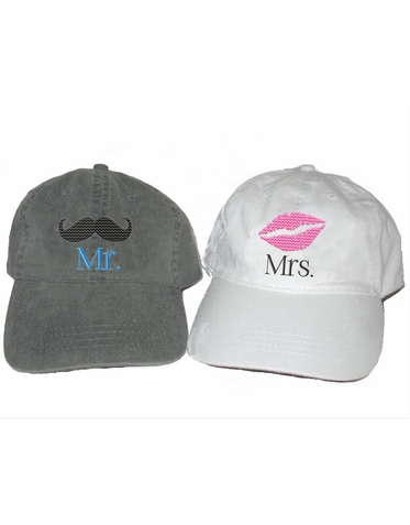 Embroidered Mr. and Mrs. Caps with Mustache and Lips