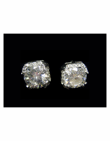 Round Rhinestone Stud Earrings