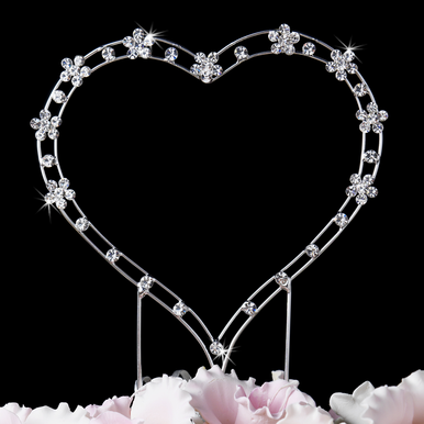 Crystal Heart Cake Topper - Wedding Cake Topper