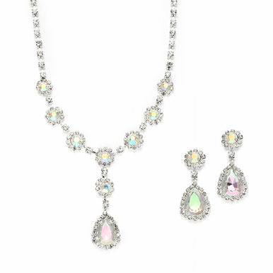 Lovely Iridescent Crystal Drop Necklace Set