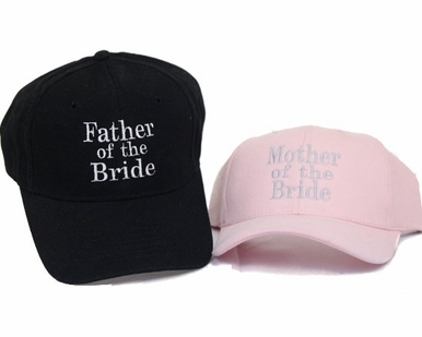 Embroidered Mother of the Bride Hat or Father of the Bride Cap