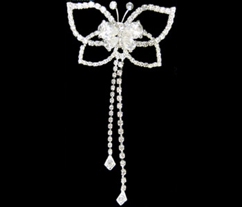 Wedding or Bridal Butterfly Rhinestone Brooch-152