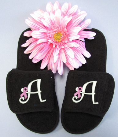 Monogrammed Slippers with Breast Cancer Awareness Ribbon