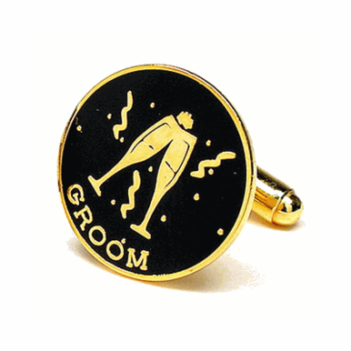 Groom Cuff Links In Gold And Black Enamel