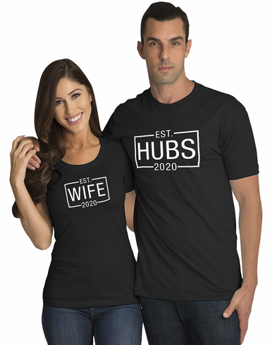 Matching Couples Hubs and Wife T-Shirt Set