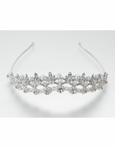 Pearl Flower And Rhinestone Tiara