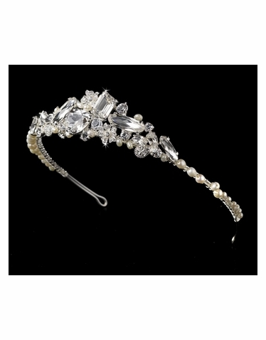 Silver and Freshwater Pearl Tiara HP8238