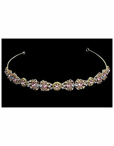 Color Series Multi-Colored Crystal Tiara in Gold Setting TR967M