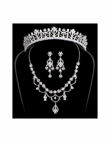 Special Collection Regal Rhinestone and Silver Headpiece and Jewelry Set
