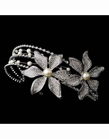 Rhinestone, Pearl and Crystal Headband in Silver