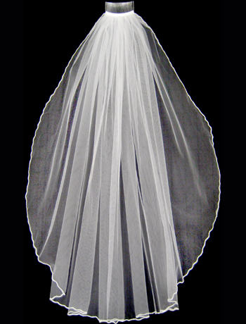 White Pearlized Bugled Beaded Edge Veil - Fingertip Length