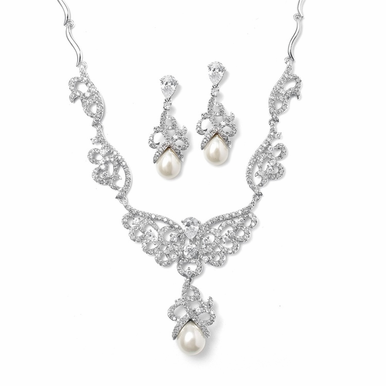 Zirconia Scroll Work And Pearl Drop Necklace Set