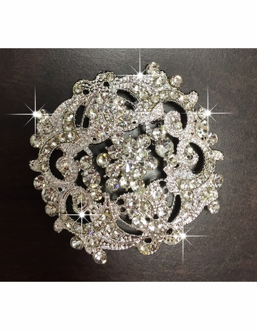 Vintage Inspired Bridal Brooch with Rhinestones