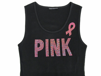 Sequin Pink on Black Misses Tank