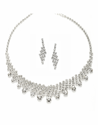 Dazzling Rhinestone Fringe Necklace Set