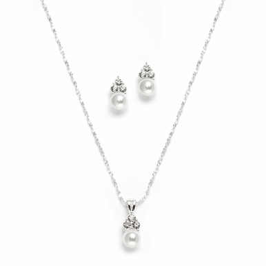Lovely Pearl And Crystal Accented Necklace Set