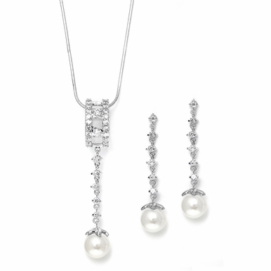 Shimmering Pearl And Rhinestone Necklace Set